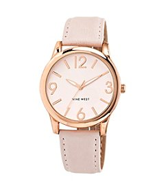 Nine West® Rose Goldtone And Blush Pink Strap Watch