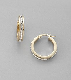 Channel Set Crystal Hoop Earrings in Sterling Silver and 14K Gold