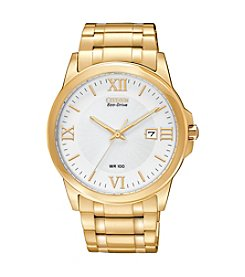 Citizen® Goldtone and White Men's Eco-Drive Watch