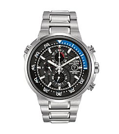 Citizen® Men's Eco-Drive Silvertone and Blue Endeavor Watch