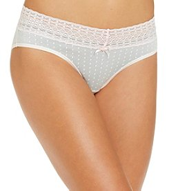Relativity® Cotton/Spandex Lace Waist Bikini Briefs - Grey Dot