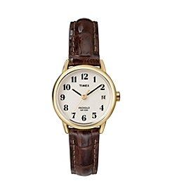 Timex® Women's Easy-To-Read Dial With Brown Leather Strap