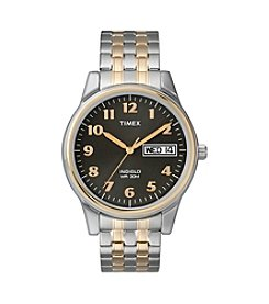 Timex® Men's' Black Dial With Day And Date Two-Tone Expansion Watch
