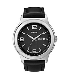 Timex® Men's Black Dial with Date Window, Black Leather Strap