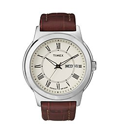 Timex® Men's Cream Dial with Day/Date Window, Brown Leather Strap