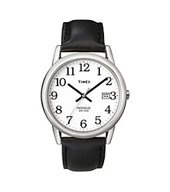 Timex® Men's Easy-To-Read Dial With Black Leather Strap Watch