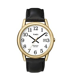 Timex® Men's Easy-To-Read Dial with Black Leather Strap