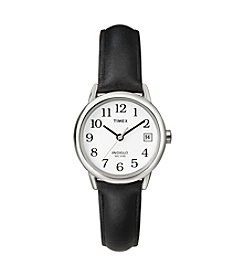 Timex® Women's Easy-To-Read Dial With Black Leather Strap Watch
