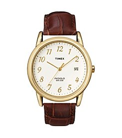 Timex® Men's Easy-To-Read Dial Brown Leather Strap Watch