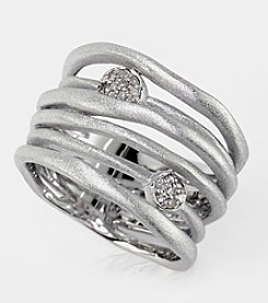 Effy® .08 ct. t.w. Diamond Brushed Sterling Silver Ring