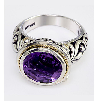 Effy® Amethyst Ring in Silver and 18K Gold -  ADULT