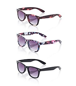 Relativity® Plastic Medium Retro Square Sunglasses
