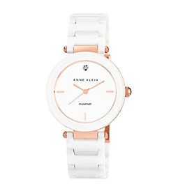 Anne Klein® Women's Ceramic Bracelet Rose Goldtone/White Watch