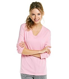 HUE® Knit V-Neck Long Sleeve Top