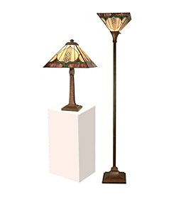 Dale Tiffany Stanton Mission Table & Torchiere Lamp Set