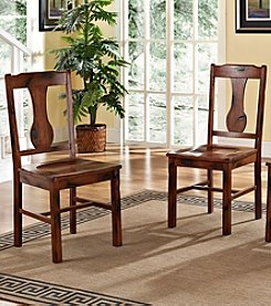W.Designs Huntsman Set of 2 Dark Oak Wood  Dining Chairs