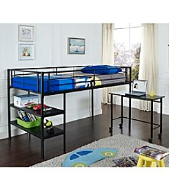 W.Designs Royal Twin Loft Bed with Desk and Shelves