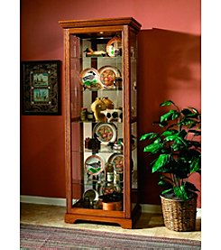 Pulaski Two-Way Sliding Door Oak Finish Curio Cabinet