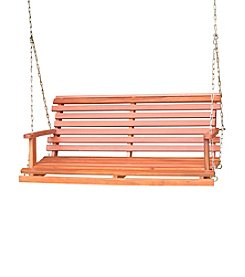 International Concepts Oiled Finish Solid Wood Swing with Chain