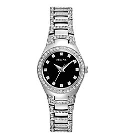 Bulova® Women's Crystal Watch with Black Dial