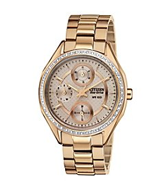 Citizen® Women's Drive Eco-Drive Rose Goldtone with Swarvoski® Crystal Bezel