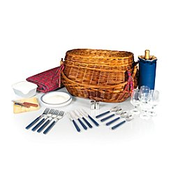 Picnic Time® Highlander Chesnut Brown Willlow Picnic Basket with Red Tartan Lining
