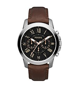 Fossil® Men's 44mm Grant Stainless Steel Chronograph Watch with Black Dial and Brown Leather Strap
