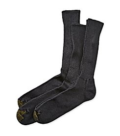 GOLD TOE® Men's Black Extended Sizes 3-Pack 'Fluffies' Casual Crew Socks
