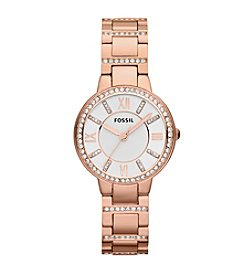 Fossil® Women's 30mm Rose Goldtone Virginia Watch With Crystal Bezel