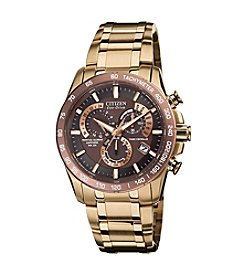 Citizen® Eco-Drive Men's Rose Goldtone Perpetual Chrono A-T Watch