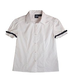 French Toast® Girls' 2T-20 White Short Sleeve Ribbon Bow Blouse
