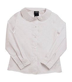 French Toast® Girls' 4-20 White Long Sleeve Feminine Fit Peter Pan Blouse with Lace