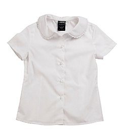 French Toast® Girls' 4-20 White Short Sleeve Feminine Fit Peter Pan Blouse With Lace