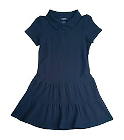 French Toast® Girls' 2T-14 Navy Ruffled Pique Polo Dress