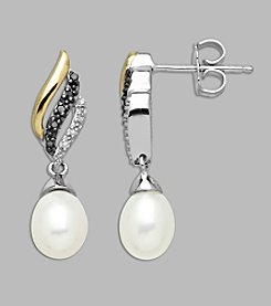Sterling Silver and 14K Gold Freshwater Pearl Earrings With Black/White Diamonds