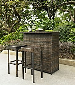Crosley Furniture Brown Palm Harbor 3-pc. Outdoor Wicker Bar Set