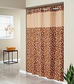 Hookless® Leopard Print Mystery Shower Curtain and PEVA Liner