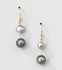 Gold Over Silver Genuine Silver Grey Freshwater Pearl and Hematite Drop Earrings