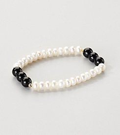 Gold Over Silver Genuine Freshwater Pearl and Black Onyx Stretch Bracelet