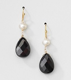 Gold Over Silver Genuine Freshwater Pearl and Black Onyx Pear Drop Earrings
