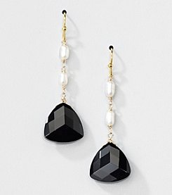 Gold Over Silver Genuine Freshwater Pearl and Black Onyx Triangle Drop Earrings