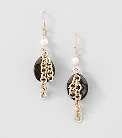 Gold Over Silver Genuine Freshwater Pearl and Black Onyx Tassel Earrings