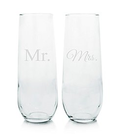 Cathy's Concepts Mr. and Mrs. Stemless Champagne Toasting Flutes