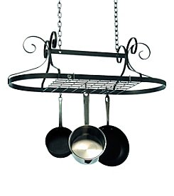Enclume Scrolled Oval Hanging Hammered Steel Pot Rack