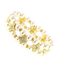 1928® Jewelry Venetian Pearl Double Strand Beaded Bracelet