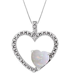 Sterling Silver Heart Shape .006 ct. t.w. Created Gemstone Pendant Necklace