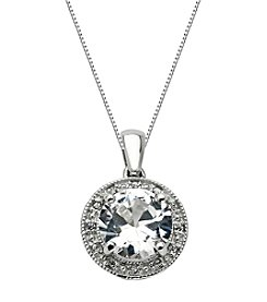 Round White Topaz Center with Round .005 ct. t.w. Created White Sapphire Pendant Necklace