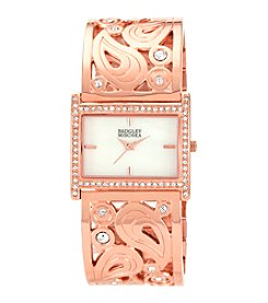 Badgley Mischka® Swarovski Crystal Accented Rose Goldtone Rectangular Bangle Watch