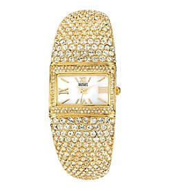 Badgley Mischka® Women's Swarovski Crystal Accented Goldtone Rectangular Bangle Watch