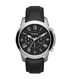 Fossil® Men's Stainless Steel Grant Chronograph Watch with Black Leather Strap